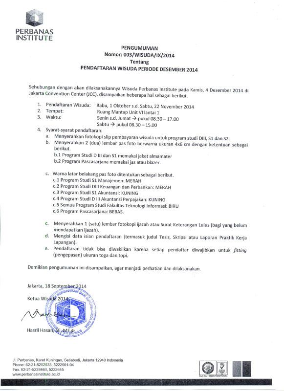 Pengumuman Wisuda Desember 2014