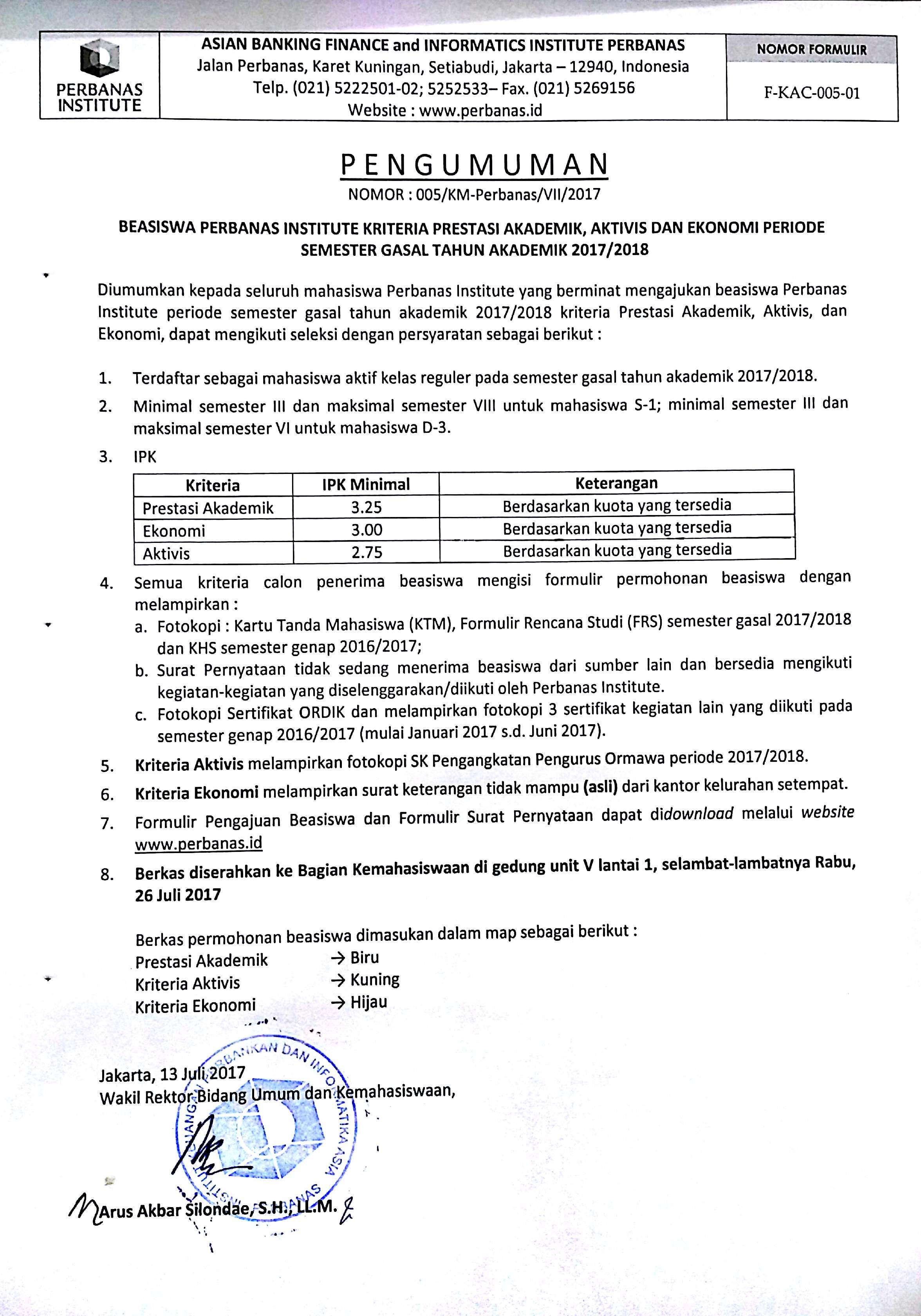 BEASISWA PRESTASI AKADEMIK, AKTIVIS DAN EKONOMI SEMESTER GASAL TAHUN AKADEMIK 2017/2018