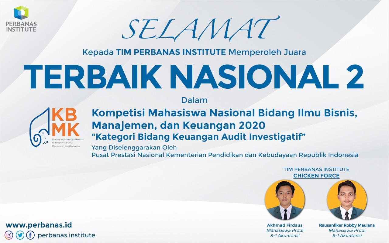 SELAMAT KEPADA MAHASISWA TIM PERBANAS INSTITUTE MEMPEROLEH JUARA TERBAIK NASIONAL 2 DALAM KBMK KEMENDIKBUD 2020