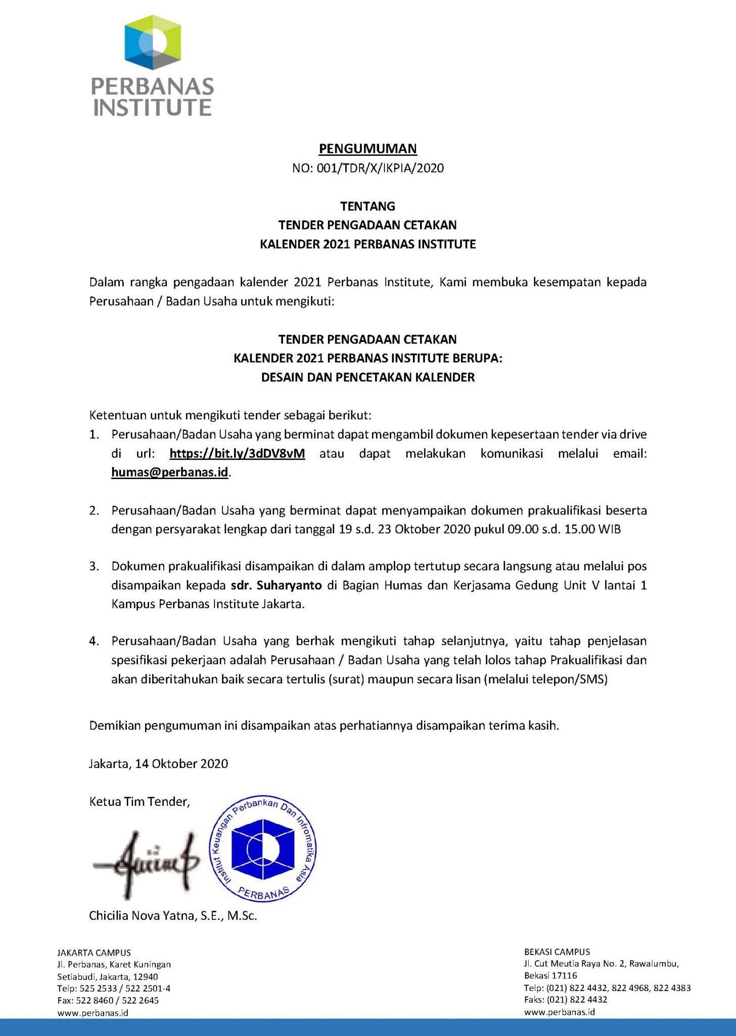PENGUMUMAN TENTANG TENDER PENGADAAN CETAKAN KALENDER 2021 PERBANAS INSTITUTE