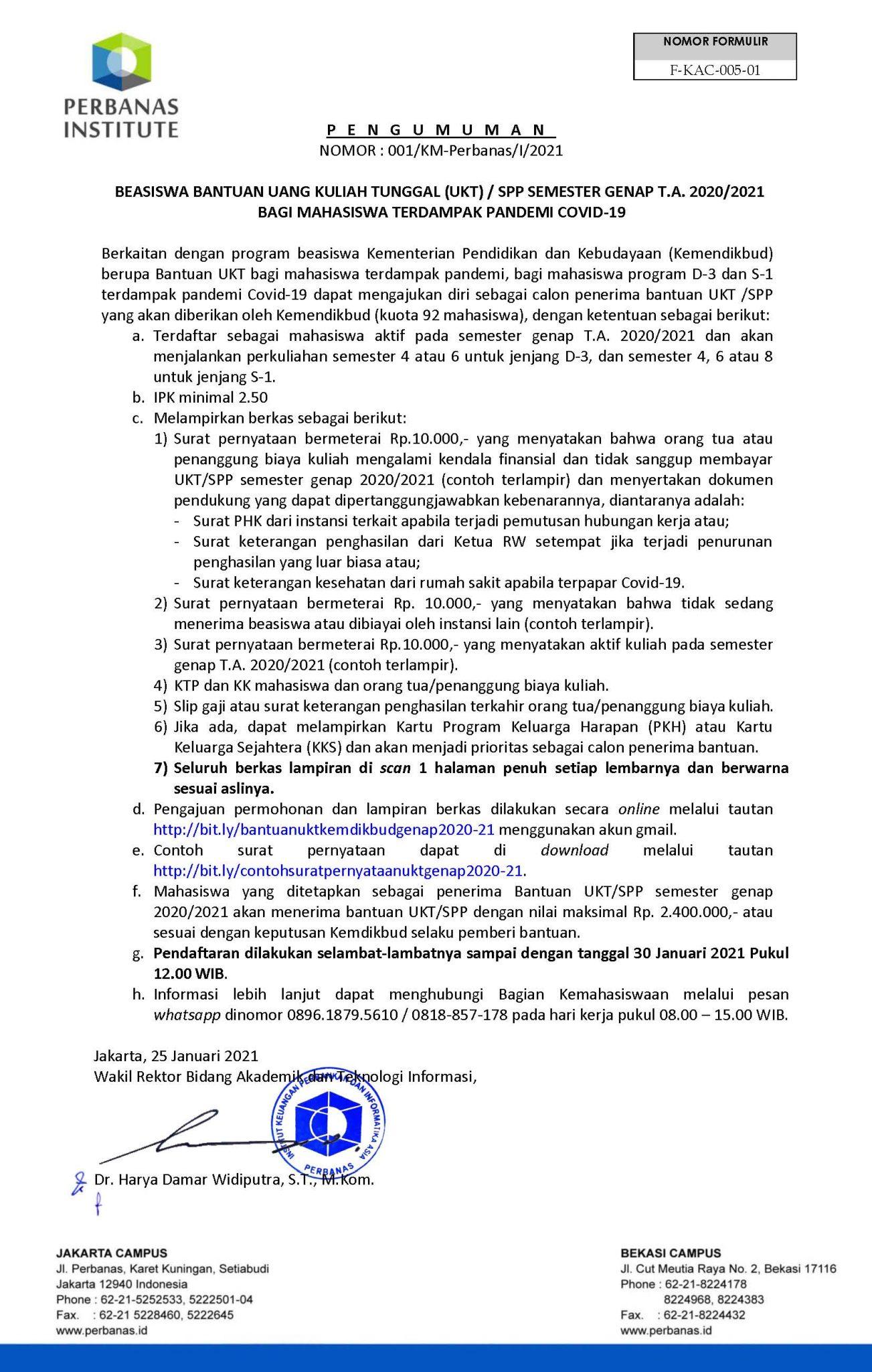 PENGUMUMAN BEASISWA BANTUAN UANG KULIAH TUNGGAL (UKT) / SPP SEMESTER GENAP T.A. 2020/2021 BAGI MAHASISWA TERDAMPAK PANDEMI COVID-19